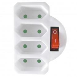 4 Fach Euro Stecker mit Schalter weiß