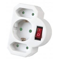 Kombi-Adapter 2+1 mit Schalter, Mehrfachstecker weiß, 3 Fach Adapter Stecker !