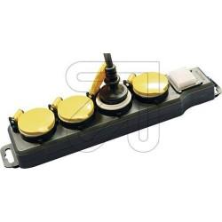 4 Fach Leiste mit Schalter schwarz IP44