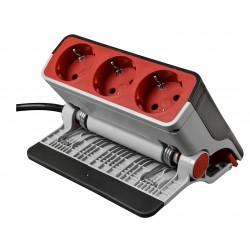 3 Fach Aluminium Steckdosenleiste mit Schalter, montierbar auf Möbel und Schrank