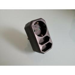 Steckdosenadapter, Kombi-Adapter 2+1 schwarz Mehrfachstecker Kombistecker 3 Fach