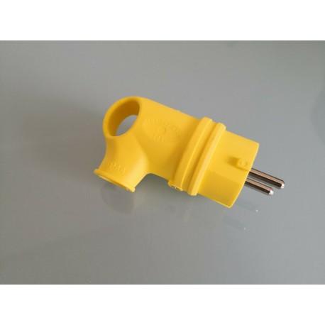 Stecker Gummi mit Griff abgewinkelt 90° gelb IP44 - Gummi Stecker Schuko IP44