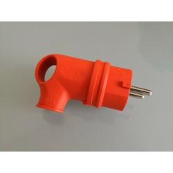 Stecker Gummi mit Griff abgewinkelt 90° orange IP44 - Gummi Stecker Schuko IP44