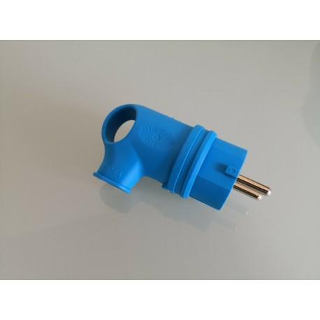 Stecker Gummi mit Griff abgewinkelt 90° blau IP44 - Gummi Stecker Schuko IP44