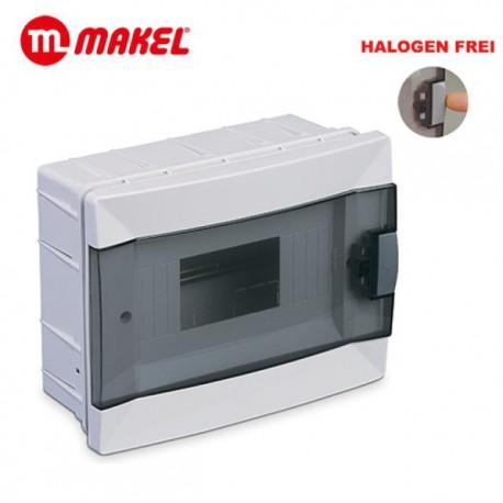 Sicherungskasten Unterputz 1 Reihig für 8 Module Transparenter Deckel
