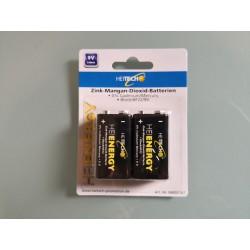 2 x 9V Block Batterien 2 er Pack Batterien Zink-Mangan 6F22 9V !