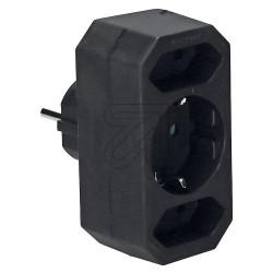 3 Fach Multi Adapter Stecker schwarz
