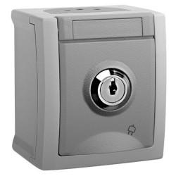 Viko Pacific Abschließbare Aufputz Steckdose Feuchtraum Aufputz IP54 Grau AP Schließnummer 4