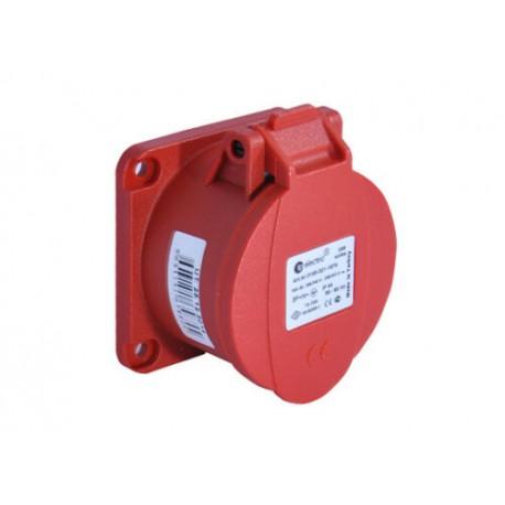 16A CEE Flanschsteckdose Einbausteckdose rot 16A 75x75mm IP44