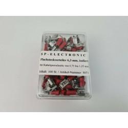 Flachsteckerverteiler 6,3mm rot PVC Isoliert 100 Stück im praktischem Box Lötfreie Leitungsverbinder