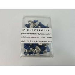 Flachsteckerverteiler 6,3mm blau
