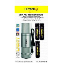 Heitech Mini Alu Taschenlampe mit 9 Led`s inkl AAA Batterien Farbe Silber