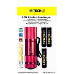 Heitech Mini Alu Taschenlampe mit 9 Led`s inkl AAA Batterien Farbe Rot