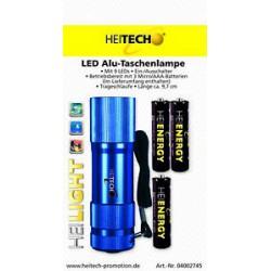 Heitech Mini Alu Taschenlampe mit 9 Led`s inkl AAA Batterien Farbe Blau