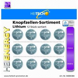 Knopfzellen Sortiment Lithium Heitech 12 Teilig. 4x CR2032,4x CR2025,4x CR2016 !