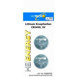 Knopfzellen 2 x CR2450 3V , Lithium Knopfzellen für Uhren, Fernbedienungen etc.