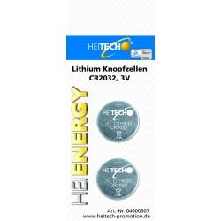 Knopfzellen 2 x CR2032 , Lithium Knopfzellen für Uhren, Fernbedienungen etc.
