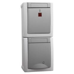 Wechselkontrollschalter / Steckdose Kombi senkrecht Viko Pacific AP IP54 Grau