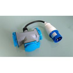 16A CEE 3 Fach Verteiler auf Schuko Kupplung  blau 16A für Wohnmobil / Caravan / Camping