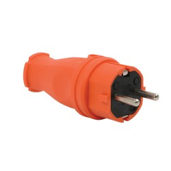Schuko Stecker Gummi Orange IP44